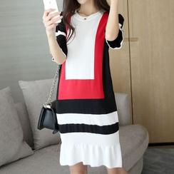 Bubbleknot - Colour Block Knit Dress
