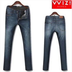WIZIKOREA - Distressed Jeans