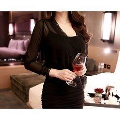 Marlangrouge - Sheer-Layered Mini Bodycon Dress