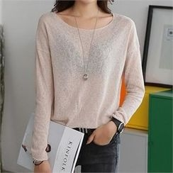 CHICFOX - Round-Neck Long-Sleeve T-Shirt