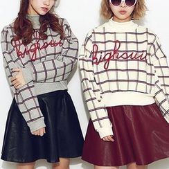 Fancy Show - Mock-Neck Letter-Embroidered Check Pullover