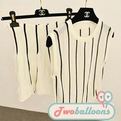 JVL - Set: Sleeveless Stripe Top + High-Waist Skirt