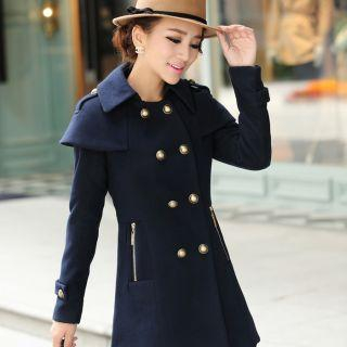 Mooiee - Cape-Shoulder Double-Breasted Coat