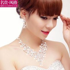 Luxury Style - Bridal Set: Tiara + Rhinestone Necklace + Clip-On Earrings