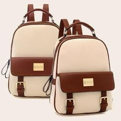 QeQ - Faux-Leather Buckled Backpack