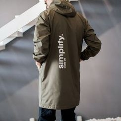 YIDESIMPLE - Printed-Back Hooded Long Jacket