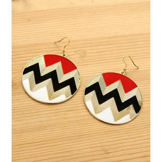 Petit et Belle - Chevron Print Disc Earrings