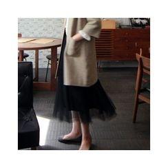 LEELIN - Band-Waist Long Tulle Skirt