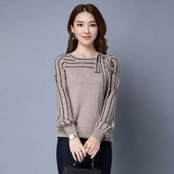 Romantica - Long-Sleeve Striped Knit Top