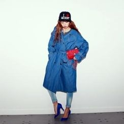 AURA-J - Double-Breasted Flap-Front Trench Coat