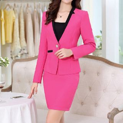 Romantica - Set: Contrast-Color Blazer + Top + Pencil Skirt