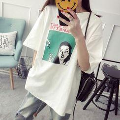 Qimi - Printed Elbow Sleeve T-Shirt