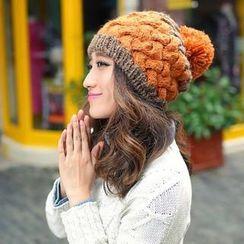貴倫美 - 飾毛球撞色針織無邊帽