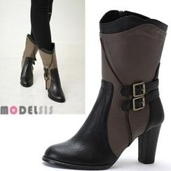 MODELSIS - Genuine Leather Zipper-Accent Buckled Boots
