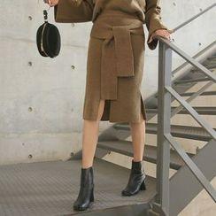 PPGIRL - Tie-Waist Slit-Front Knit Skirt