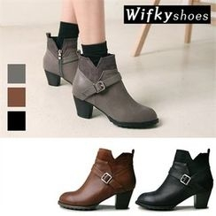 Wifky - Belted Chunky-Heel Ankle Boots