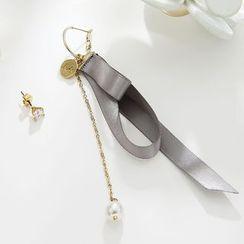 STYLEJING - Asymmetric Ribbon Earrings