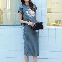 Athena - Set: Short-Sleeve Stripe T-Shirt + Midi Skirt