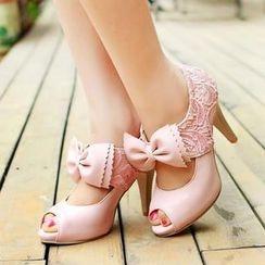 Charming Kicks - 蝴蝶结露趾高跟鞋