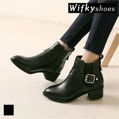 Wifky - Buckled Chunky-Heel Ankle Boots