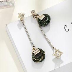 STYLEJING - Crystal Drop Asymmetric Earrings