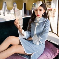 GU ZHI - Set: Button Jacket + Skirt