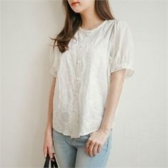 Styleberry - Puff-Sleeve Lace Blouse