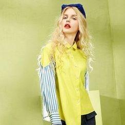 ELF SACK - Stripe-Panel Shirt