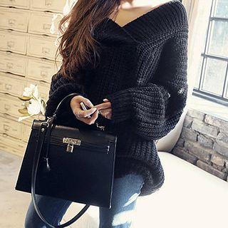 Fashion Street - Chunky Knit V-Neck Sweater