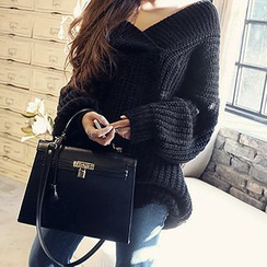 Fashion Street - Chunky Knit V-Neck Sweater
