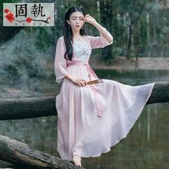 GU ZHI - 3/4-Sleeve Tie-Waist Embroidered Dress