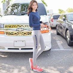 Wheatfield - Sport Set: Long Sleeve Yoga Top + Yoga Pants