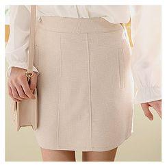 Sechuna - Band-Waist Checked Mini Skirt