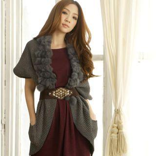 Tokyo Fashion - Faux Fur Collar Open Front Cardigan