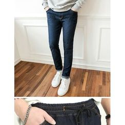 STYLEMAN - Band-Waist Washed Jeans