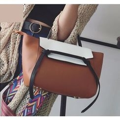 Youshine - Color Panel Faux Leather Handbag