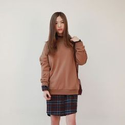 Vintage Vender - Mock-Neck Drop-Shoulder Sweatshirt