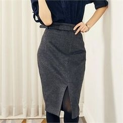 MAGJAY - High-Waist Slit-Front Pencil Skirt with Belt