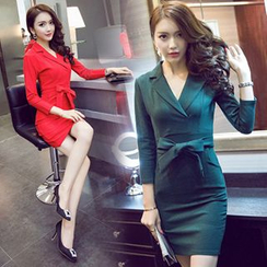 Ashlee - Long-Sleeve V-Neck Sheath Dress