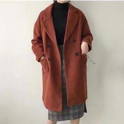 monroll - Plain Notch Lapel Long Woolen Coat