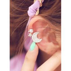 kitsch island - Rhinestone Moon Ear Cuff