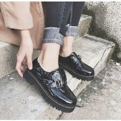 Simply Walk - Buckled Platform Patent Loafers