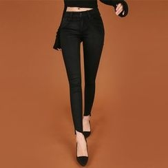 DABAGIRL - Cutout-Hem Coated Skinny Pants
