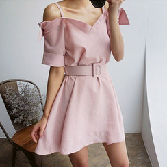 chuu - Strappy Mock Shirtdress with Belt
