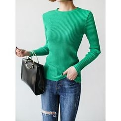 STYLEBYYAM - Round-Neck Ribbed Knit Top