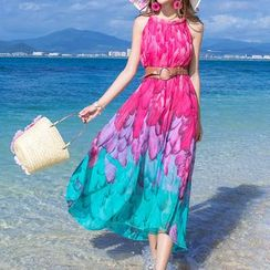 LunarS - Print Sleeveless Maxi Chiffon Dress