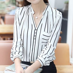 Falaso - Striped V-Neck Blouse