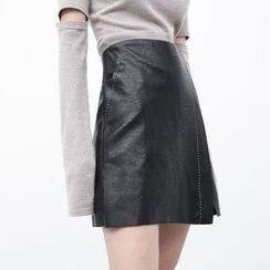 Sonne - Faux-Leather Stitched Mini Skirt