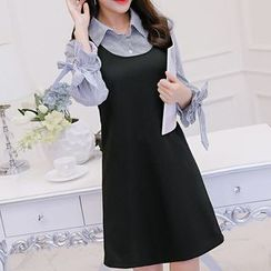 Q.C.T - Set: Frill Sleeve Blouse + Sleeveless Dress
