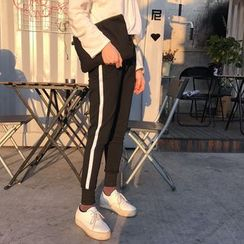 Bloombloom - Contrast Trim Skinny Sweatpants